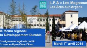"""4ème Forum du Développement Durable au LPA """"Les Magnanarelles"""" - Les Arcs-sur-Argens"""
